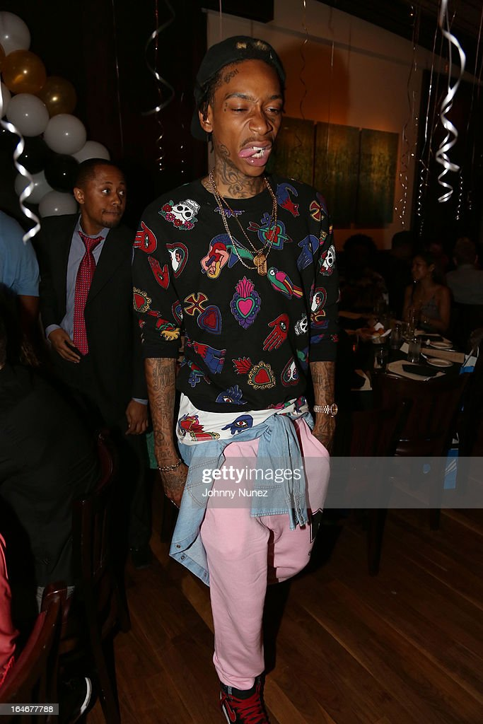 Wiz Khalifa attends Remy Martin V Celebrates Big Sean's 25th Birthday Dinner at Wolfgang's Steakhouse on March 25, 2013 in Beverly Hills, California.