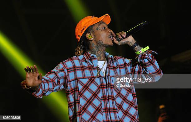 Wiz Khalifa headlines on the Main Stage during Day 4 of Bestival at Robin Hill Country Park on September 11 2016 in Newport Isle of Wight