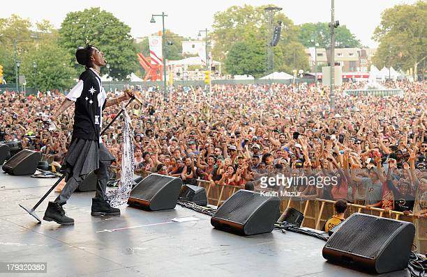 Wiz Khalifa performs during the 2013 Budweiser Made In America Festival at Benjamin Franklin Parkway on September 1, 2013 in Philadelphia,...