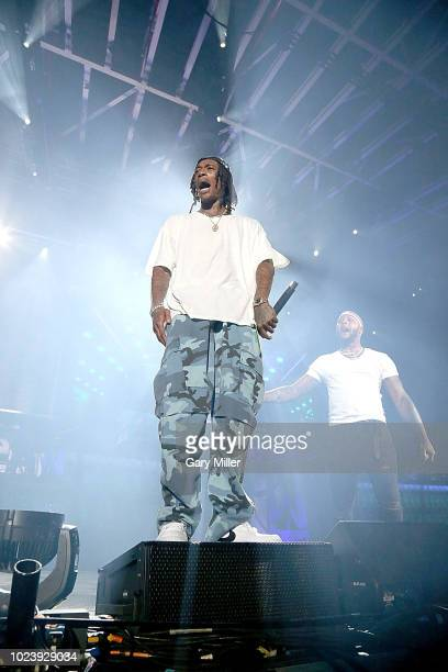 Wiz Khalifa performs in concert during the Blazed & Dazed tour at Austin360 Amphitheater on August 25, 2018 in Austin, Texas.