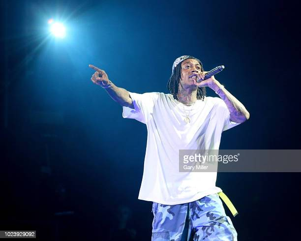 Wiz Khalifa performs in concert during the Blazed Dazed tour at Austin360 Amphitheater on August 25 2018 in Austin Texas