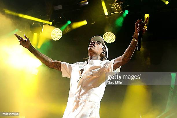 Wiz Khalifa performs in concert with Snoop Dogg on the High Road Tour at the Austin360 Amphitheater on August 21, 2016 in Austin, Texas.