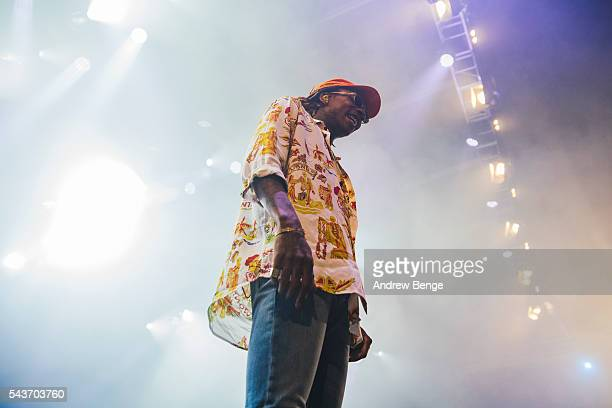 Wiz Khalifa performs on the Arena stage during Roskilde Festival 2016 on June 29 2016 in Roskilde Denmark