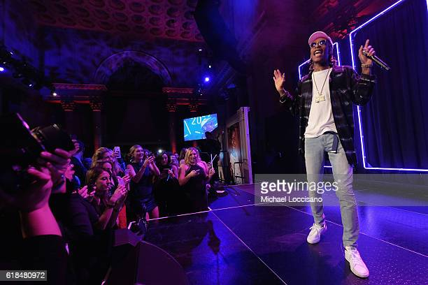 Wiz Khalifa performs onstage at Pencils of Promise 6th Annual Gala A World Imagined at Cipriani Wall Street on October 26 2016 in New York City