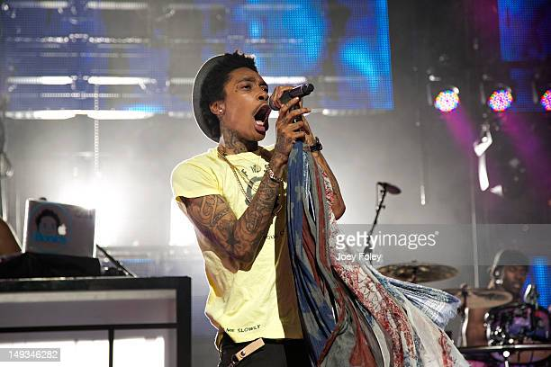 Wiz Khalifa performs onstage at Riverbend Music Center on July 26 2012 in Cincinnati Ohio