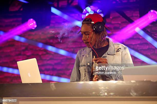 Wiz Khalifa performs onstage at the Atlantic Urban showcase during the 2015 SXSW Music Film Interactive Festival at Brazos Hall on March 18 2015 in...