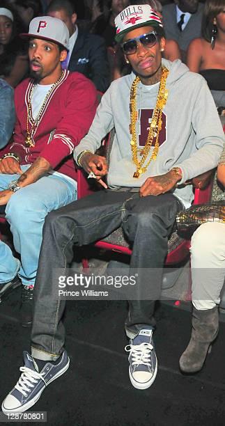Wiz Khalifa seated during the BET Hip Hop Awards 2011 at the Boisfeuillet Jones Atlanta Civic Center on October 1 2011 in Atlanta Georgia