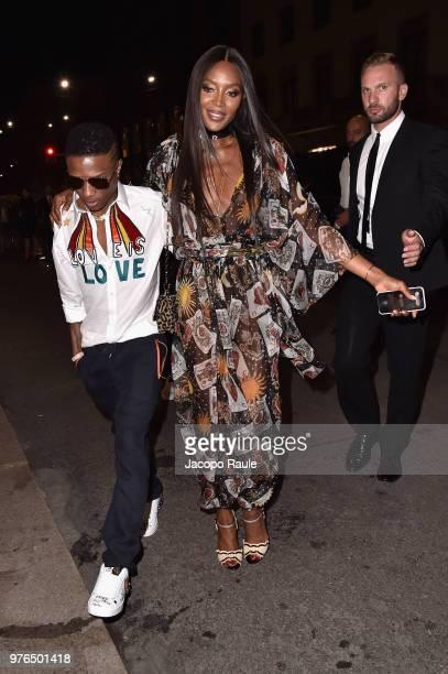 Wiz Kid and Naomi Campbell attend Dolce Gabbana Naked King secret show at Milan Men's Fashion Week Spring/Summer 2019 on June 16 2018 in Milan Italy