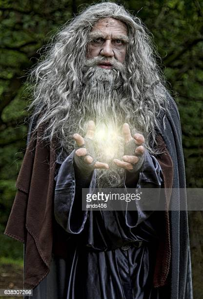 Wizard casting light spell