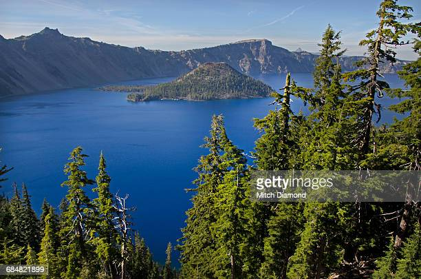 wizard island in crater lake - medford oregon stock photos and pictures