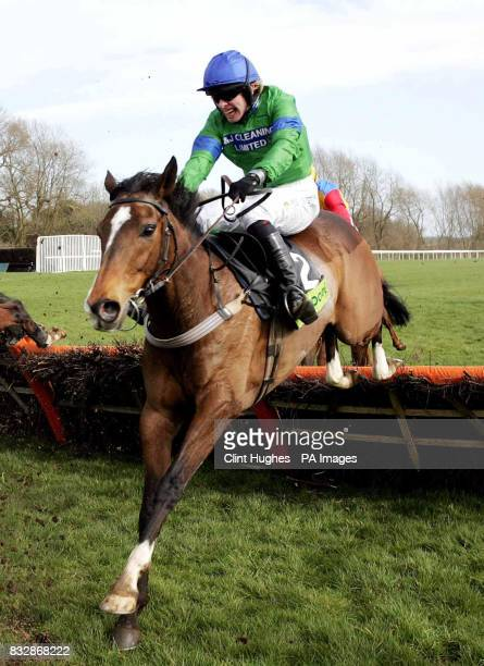 Wizard of Us ridden by Alan O'Keeffe clears the last fence as they run in to win the 210 Totescoop6 Novices Handicap Hurdle Race at Uttoxeter...