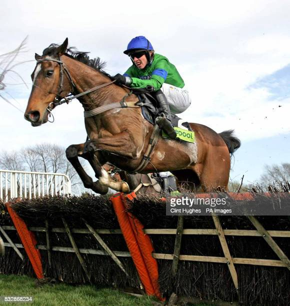 Wizard of Us ridden by Alan O'Keeffe clears the last fence to win the 210 Totescoop6 Novices Handicap Hurdle Race at Uttoxeter Racecourse