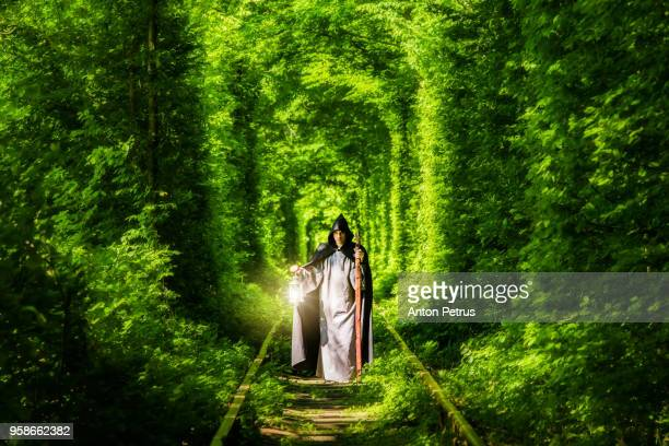wizard with a lantern in a tunnel of green forest - monster fictional character stock pictures, royalty-free photos & images