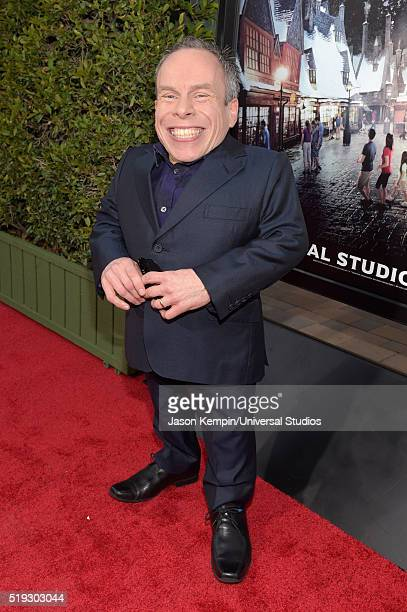 Wizarding World of Harry Potter Attraction Opening' -- Pictured: Actor Warwick Davis arrives at the opening of the 'Wizarding World of Harry Potter'...