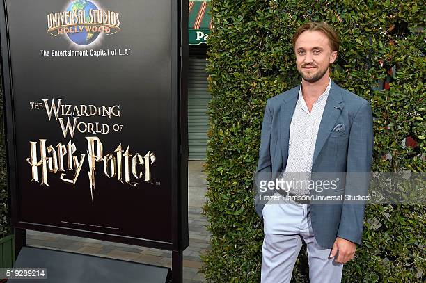 Wizarding World of Harry Potter Attraction Opening' -- Pictured: Actor Tom Felton arrives at the opening of the 'Wizarding World of Harry Potter' at...