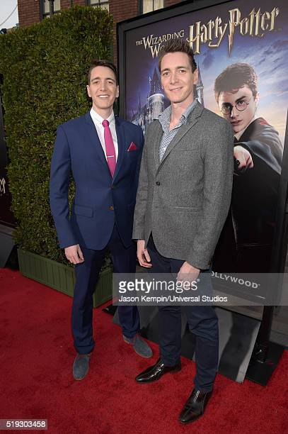 HOLLYWOOD 'Wizarding World of Harry Potter Attraction Opening' Pictured Actors Oliver Phelps and James Phelps arrive at the opening of the 'Wizarding...