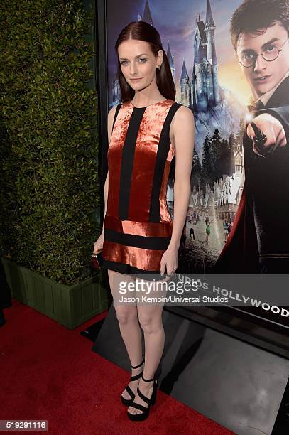 Wizarding World of Harry Potter Attraction Opening' -- Pictured: Actress Lydia Hearst arrives at the opening of the 'Wizarding World of Harry Potter'...