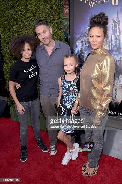 HOLLYWOOD 'Wizarding World of Harry Potter Attraction Opening' Pictured Ripley Parker screenwriter Ol Parker Nico Parker and actress Thandie Newton...