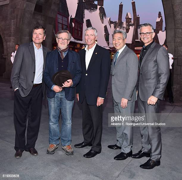 HOLLYWOOD 'Wizarding World of Harry Potter Attraction Opening' Pictured Steve Burke director Steven Spielberg chairman and CEO Universal Parks and...