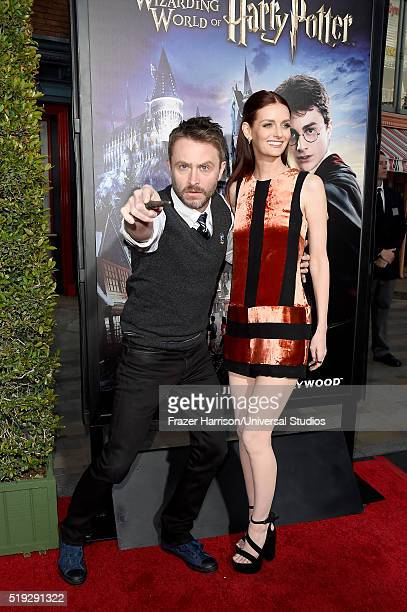 Wizarding World of Harry Potter Attraction Opening' -- Pictured: TV personality Chris Hardwick and actress Lydia Hearst arrive at the opening of the...