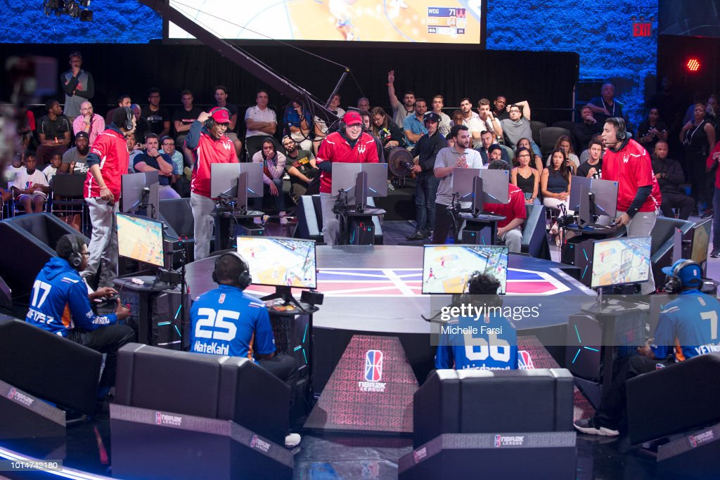 Wizards District Gaming celebrate during the game against Knicks Gaming during Week 12 of the NBA 2K League on August 10, 2018 at the NBA 2K Studio in Long Island City, New York.