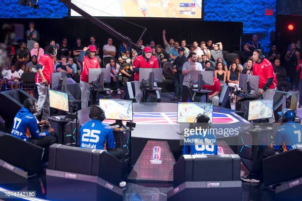 Wizards District Gaming celebrate during the game against Knicks Gaming during Week 12 of the NBA 2K League on August 10 2018 at the NBA 2K Studio in...