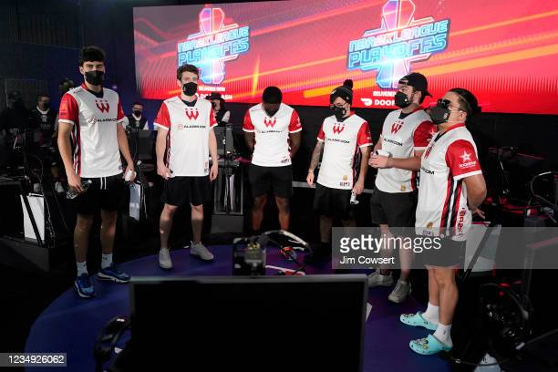 Wizards District Gaming look on before the game against the Nets Gaming Club during the semifinals of the 2021 NBA 2K League Playoffs on August 28,...