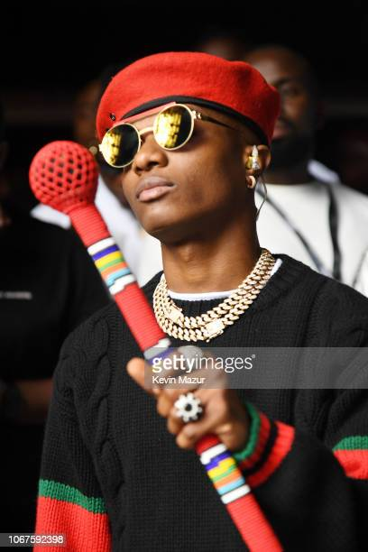 WizKid backstage ahead of his performance during the Global Citizen Festival Mandela 100 at FNB Stadium on December 2 2018 in Johannesburg South...