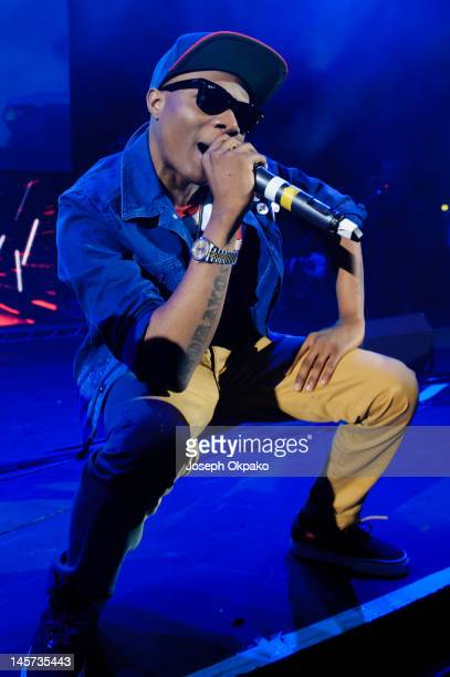 Wizkid performs on stage during his 'Starboy Tour' at Hammersmith Apollo on June 4 2012 in London England