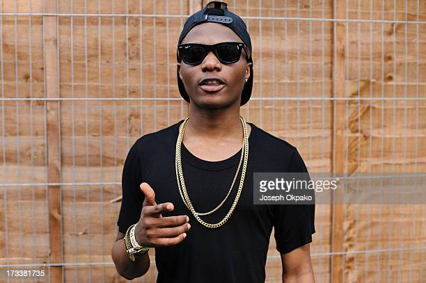 Wizkid poses for a picture backstage on day 1 of the Yahoo Wireless Festival at Queen Elizabeth Olympic Park on July 12 2013 in London England