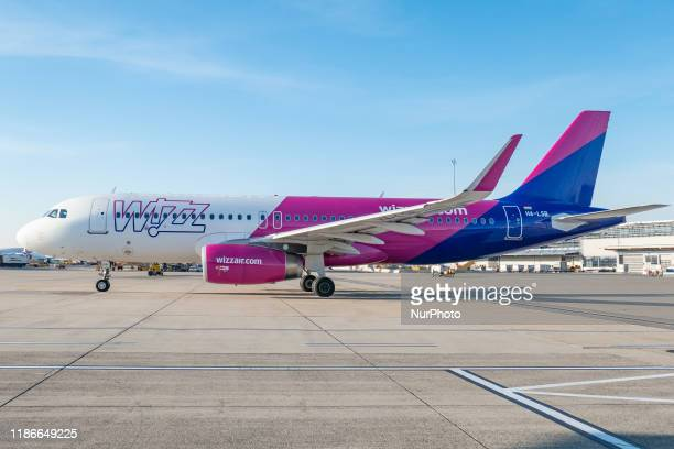 Wizz Air Airbus A320 specifically A320232 winglets aircraft as seen taxiing on the apron of Vienna International Airport VIE LOWW Flughafen...