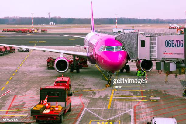 Wizzair aircraft in Hamburg airport, Germany