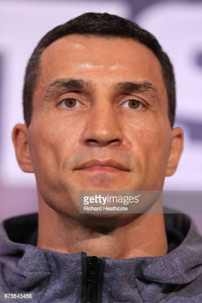 Wladamir Klitschko speaks during a press conference for his Super Heavyweight title fight against Anthony Joshua at Sky Sports Studios on April 27...