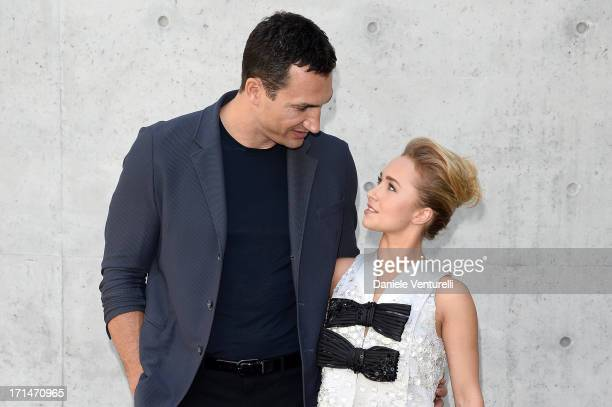 Wladimir Klitschko and Hayden Panettiere attend the Giorgio Armani show during Milan Menswear Fashion Week Spring Summer 2014 on June 25 2013 in...