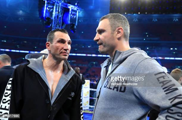 Wladimir Klitschko and his brother Vitali Klitschko speak after defeat to Anthony Joshua in the IBF WBA and IBO Heavyweight World Title bout at...