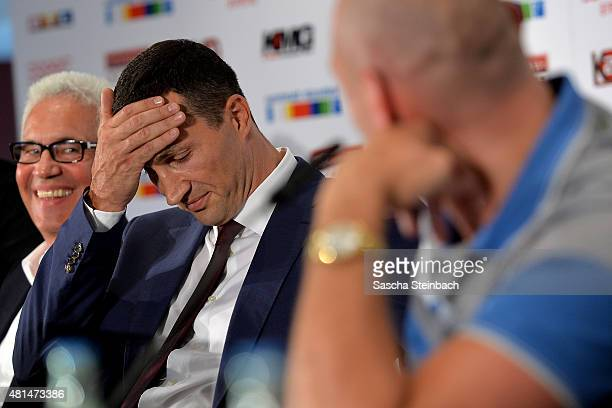Wladimir Klitschko and Tyson Fury attend a press conference at EspritArena on July 21 2015 in Duesseldorf Germany