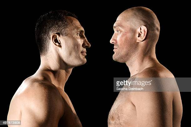 Wladimir Klitschko and Tyson Fury face each other at EspritArena on July 21 2015 in Duesseldorf Germany The Heavyweight title clash between Klitschko...