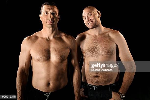 Wladimir Klitschko and Tyson Fury pose at EspritArena on July 21 2015 in Duesseldorf Germany Fury v Klitschko Part 2 will take place in Manchester on...