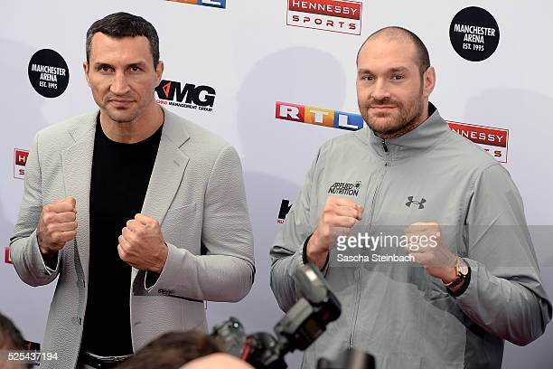 Wladimir Klitschko and Tyson Fury pose during their head to head press conference on April 28 2016 in Cologne Germany Fury v Klitschko Part 2 will...