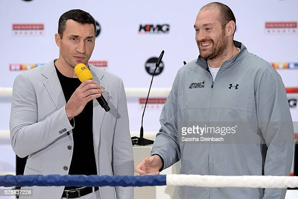 Wladimir Klitschko and Tyson Fury speak to the media during their head to head press conference on April 28 2016 in Cologne Germany Fury v Klitschko...