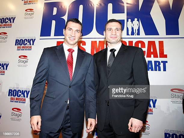 Wladimir Klitschko and Vitali Klitschko attend the ROCKY Musical Gala Premiere at TUI Operettenhaus on November 18 2012 in Hamburg Germany