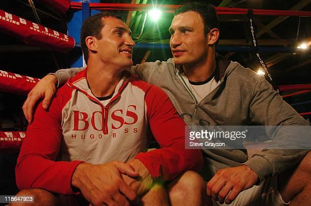 Wladimir Klitschko and Vitali Klitschko. During The Klitschko Brothers Vitali and Wladimir Open Workout at La Brea Boxing gym in Los Angeles,...