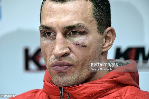 Wladimir Klitschko attends a press conference after his fight against Tyson Fury at EspritArena on November 28 2015 in Duesseldorf Germany
