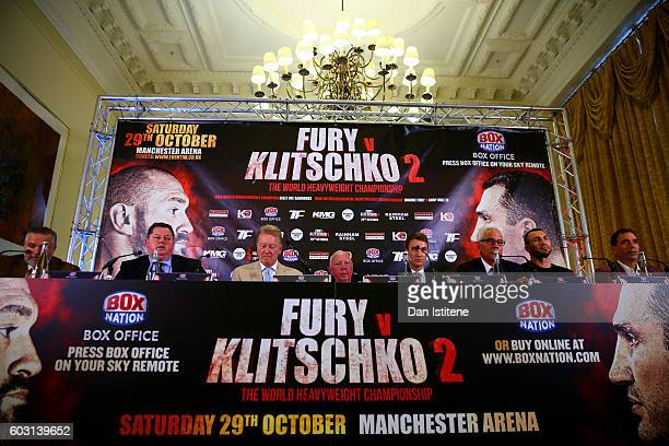 Wladimir Klitschko attends a press conference which Tyson Fury failed to attend ahead of the world heavyweight title rematch between Tyson Fury and...