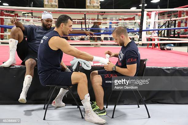 Wladimir Klitschko attends media workout and press conference at Lucky Street Boxing Gym on July 29 2014 in Hollywood Florida