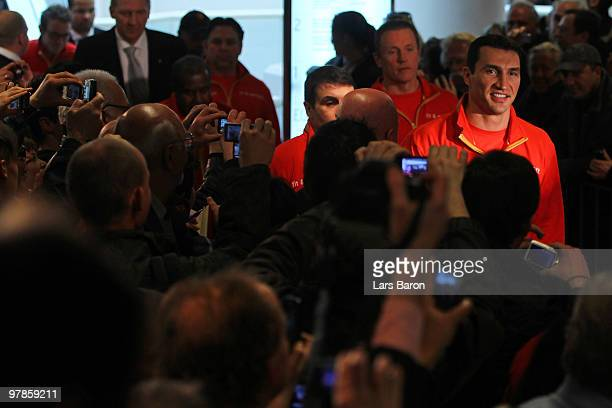 Wladimir Klitschko attends the weigh in for the WBO Heavyweight World Championship fight against Eddie Chambers of USA on March 19 2010 in...