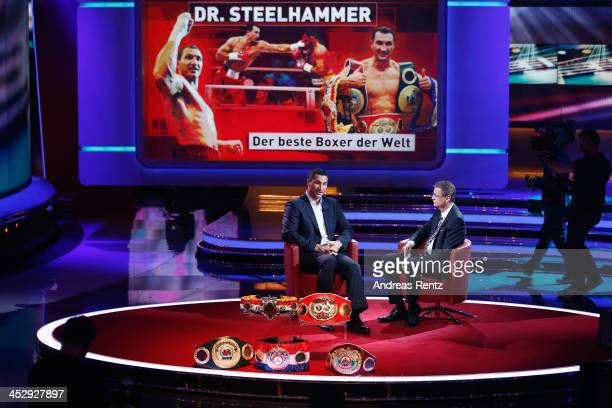 Wladimir Klitschko chats with TV host Guenther Jauch during the '2013 Menschen Bilder Emotionen' RTLJahresrueckblick on December 1 2013 in Huerth...