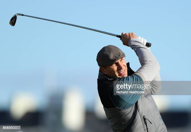 Wladimir Klitschko former boxer in action during day two of the 2017 Alfred Dunhill Championship at Carnoustie on October 6 2017 in Carnoustie...