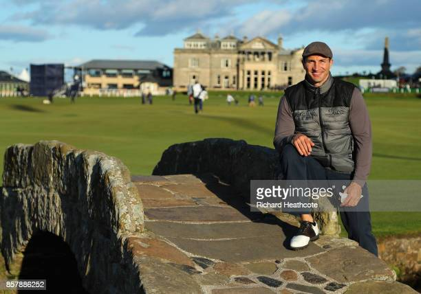 Wladimir Klitschko former boxer poses for a photo on the Swilken Bridge during day one of the 2017 Alfred Dunhill Championship at The Old Course on...