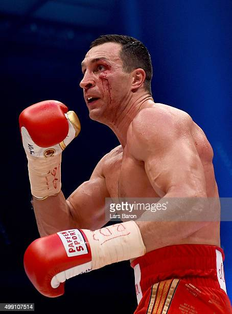 Wladimir Klitschko is seen during his IBF/IBO/WBA/WBO World Heavyweight Championship title fight against Tyson Fury at EspritArena on November 28...
